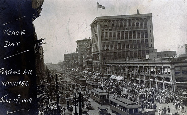 Peace Day on Portage Avenue in Winnipeg, 19 July 1919