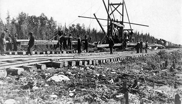 The Hudson Bay Railway under construction, circa 1920.