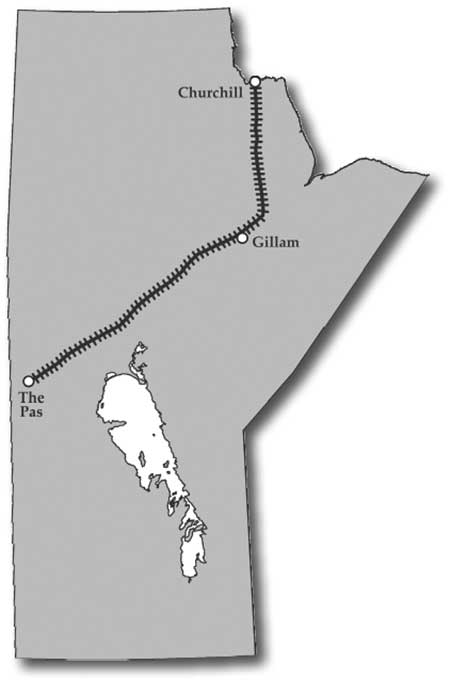 The route of the Hudson Bay Railway northward from The Pas was originally intended to terminate at Port Nelson, at the mouth of the Nelson River, but was redirected towards Churchill during construction. Started in 1911, the 800-kilometer line reached Hudson Bay in early 1929.
