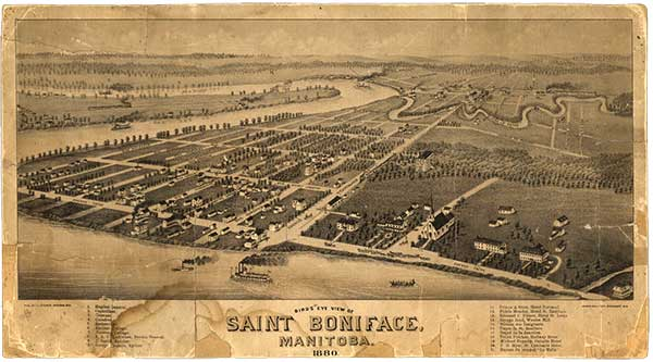 A Bird's Eye View of Saint Boniface, 1880