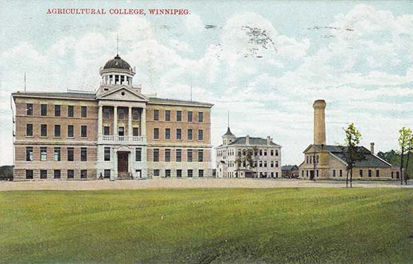 Postcard view of the former Manitoba Agricultural College buildings