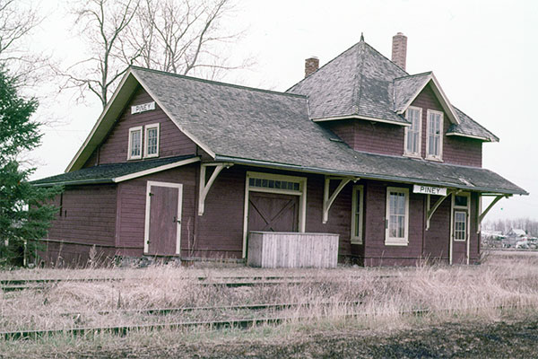 Former Canadian National Railway station at Piney