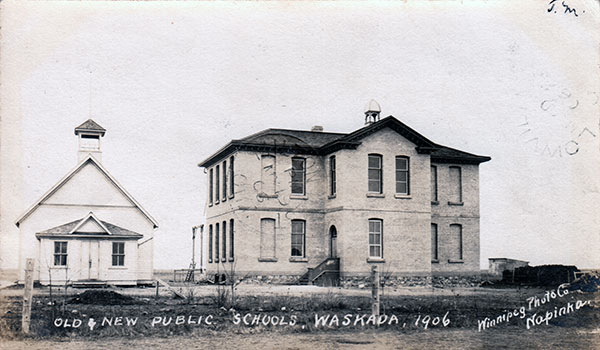 Postcard view of the first (1880s) and second (1901) Waskada Schools